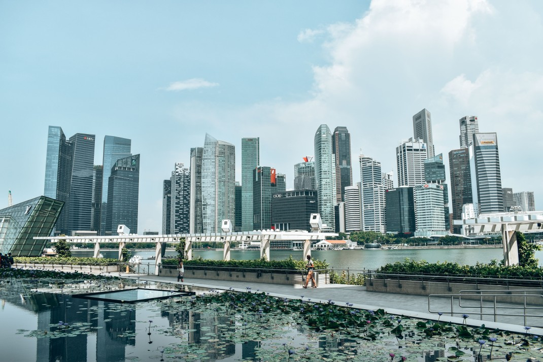 Widok na centrum biznesowe Singapuru
